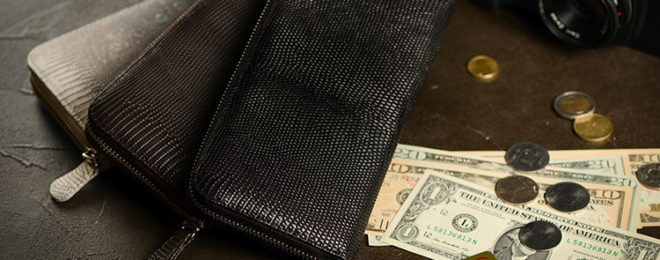 リザードマットラウンド長財布
