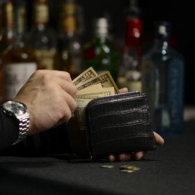 スモールクロコダイルマットL字ラウンド折財布フィオーレ