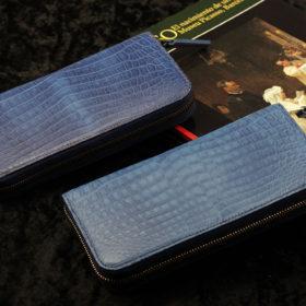 藍染カラークロコダイルラウンド長財布
