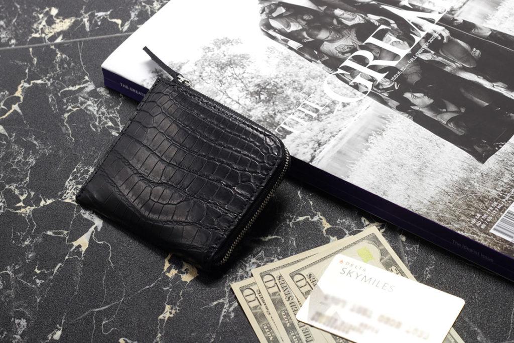 ナイルクロコダイルマットL字ラウンドミニ財布
