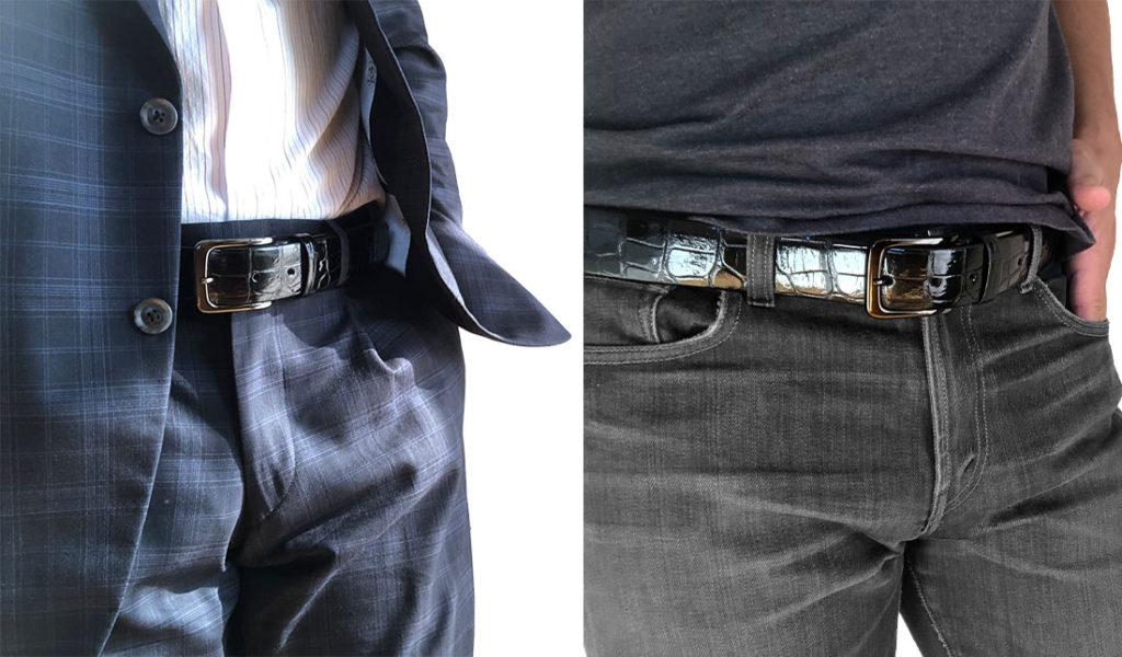 スモールクロコダイルシャイニングトラッドメイドブラックニッケルピンタイプ(35mm幅)
